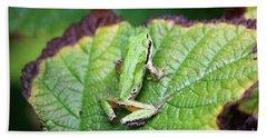 Tree Frog On Leaf Bath Towel