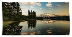 Two Jack Lake And Mount Rundle Hand Towel