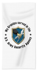 U. S.  Army Security Agency -  A S A  Patch Over White Leather Bath Towel