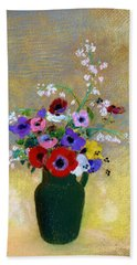Large Green Vase With Mixed Flowers - Digital Remastered Edition Hand Towel