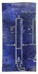 1858 Fire Hydrant Patent Blue Bath Towel