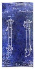 1859 Hire Hydrant Patent Blue Bath Towel