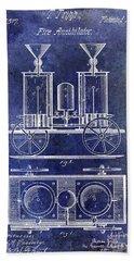 1870 Fire Truck Patent Blue Bath Towel