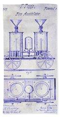 1870 Fire Truck Patent Blueprint Bath Towel