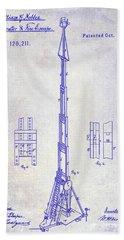 1871 Fire Hose Elevator Patent Blueprint  Bath Towel