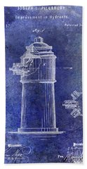 1871 Fire Hydrant Patent Blue Bath Towel