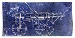 1875 Ladder Truck Patent Blue  Bath Towel