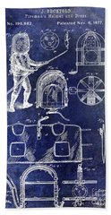 1877 Firemans Helmet And Dress Patent Blue Bath Towel