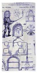 1877 Firemans Helmet And Dress Patent  Blueprint Bath Towel