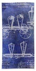 1878 Fire Truck Patent Blue Bath Towel