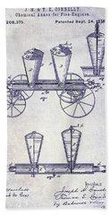 1878 Fire Truck Patent Blueprint Bath Towel