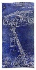 1884 Fire Ladder Truck Patent Blue Bath Towel