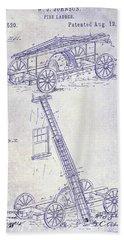 1884 Fire Ladder Truck Patent Blueprint Bath Towel