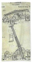 1884 Fire Ladder Truck Patent Bath Towel