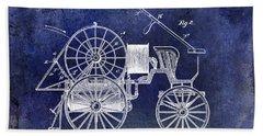 1889 Fire Engine Patent Blue Bath Towel