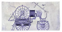 1889 Fire Engine Patent Blueprint Bath Towel