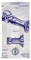 1896 Fire Hose Spray Nozzle Patent Blueprint Bath Towel