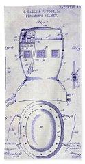1903 Firemans Helmet Patent Blueprint Bath Towel