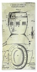 1903 Firemans Helmet Patent Bath Towel