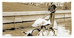 1904 Worlds Fair, Sighteeing Boat, Oarsman And Couple Hand Towel
