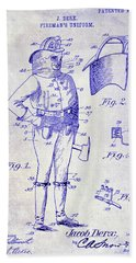 1905 Firemans Uniform Patent Blueprint Bath Towel