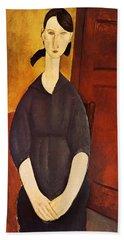 1919 Portrait De Paulette Jourdain. 100x65 Cm. New York, Collection Hermanos Bath Towel