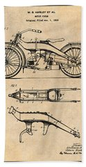 1924 Harley Davidson Motorcycle Patent Print Antique Paper Bath Towel