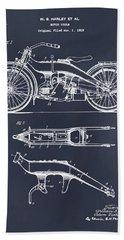 1924 Harley Davidson Motorcycle Patent Print Blackboard Bath Towel