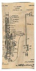 1924 Saxophone Antique Paper Patent Print Bath Towel