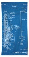1924 Saxophone Blueprint Patent Print Bath Towel