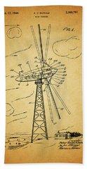 1944 Wind Turbine Patent Design Hand Towel