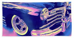 1948 Chevy Fleetline On The Down Low Blue Hand Towel