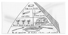1960s Food Pyramid Bath Towel