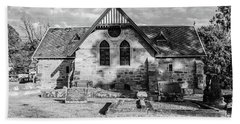 19th Century Sandstone Church In Black And White Hand Towel