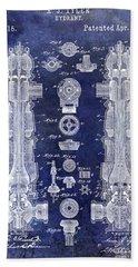 1889 Fire Hydrant Patent Blue Bath Towel