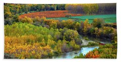 Autumn Colors On The Ebro River Hand Towel