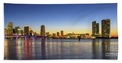Miami Sunset Skyline Bath Towel
