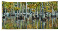 Reflection Of Bald Cypress Taxodium Hand Towel