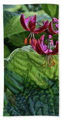 2019 June At The Gardens Lily And Hosta Bath Towel