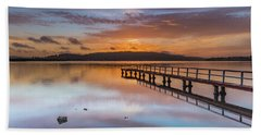 Early Morning Clouds And Reflections On The Bay Hand Towel