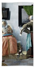 Woman Reading A Letter Hand Towel