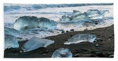 The Diamond Beach, Jokulsarlon, Iceland Hand Towel