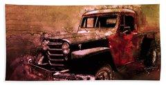 51 Willys Jeep 4x4 Pickup Ridge Running Before Dark Hand Towel