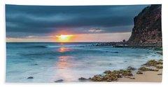 Sunrise Seascape And Cloudy Sky Hand Towel