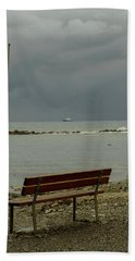 A Bench On Which To Expect, By The Sea Hand Towel