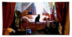 Bath Towel featuring the digital art A Cat's Favorite Spot by Joy McKenzie