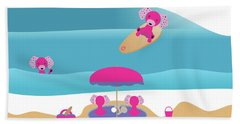 A Dog Family Surf Day Out Hand Towel