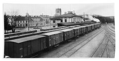 A Goods Train At The Railway Station In Vaxjo In The Background Vaxjo Cathedral Bath Towel