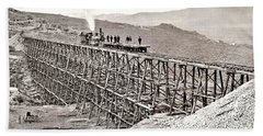 A Recently Completed Rail Trestle At Promontory  Utah By Andrew J  Russell Bath Towel