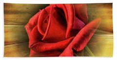 A Red Rose On Gold Bath Towel